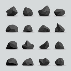 Wall Mural - Black stones in flat style. Rock graphite coal or polygonal element. Polygonal black stones or poly rocks vector illustration