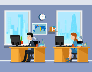 Employees, creative team working in the office. Work professional manager man and woman. Working in office vector illustration business concept in flat style