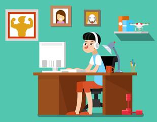 Freelancer at work, creative freelancer designer with computer, web technology, workplace employee. Freelancer vector illustration