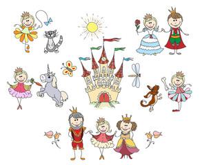 Children drawings for little girl. Family and king, fantasy drawing. Children little girl hand drawings vector illustration