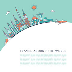 Travel and tourism background. Vector line illustration. Line art style.