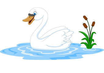 Cartoon beauty swan floats on water