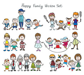Doodle happy family sketch. Father and mother, kid boy and girl. Hand drawn happy family sketch vector illustration