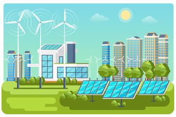 Green energy urban landscape vector. Ecology nature, eco house building. Green energy eco city vector landscape illustration