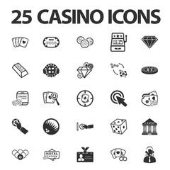 Casino, gambling 25 black simple icons set for web