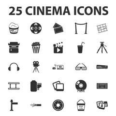 Cinema, film, media 25 black simple icons set for web