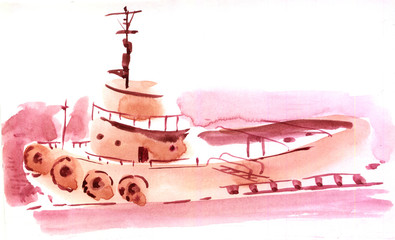 small ship watercolor