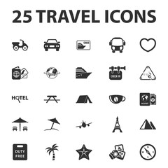 Travel, vacation 25 black simple icons set for web