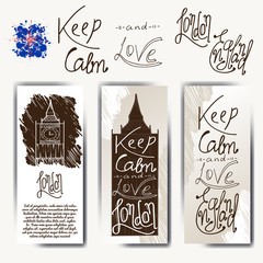 Set of posters with typographical phrase Keep calm and love England. Vector design art postcard with creative slogan. Retro greeting card in sketch style.