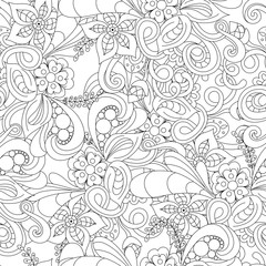 Hand drawn doodle pattern in vector. Zentangle background. Seamless abstract texture. Ethnic doodle design with henna ornament.