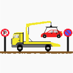 Evacuator tow away car. Illustration