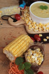 Corn cream soup and sweet corn delicious.