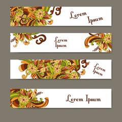 Set of banners for business. Corporate identity vector template with ornament for your design.
