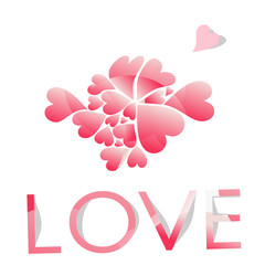 Valentine's Day background with heart. Vector illustration.