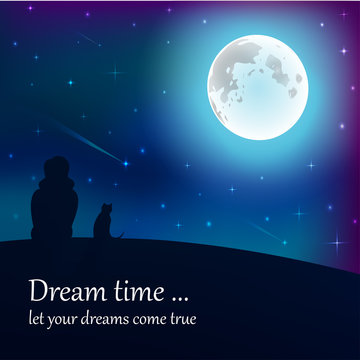 Girl and cat sitting on earth, looking at moon under stars in night sky with text place.