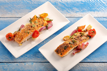 Baked salmon with herbs and vegetables