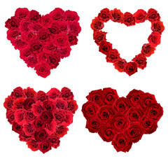 Collage of Valentines Day heart made of red roses isolated on white
