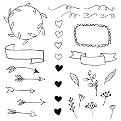 Collection of sketched design elements