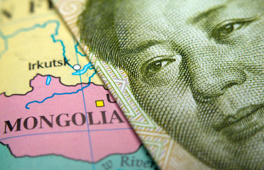 Close-up of a map of Mongolia (incl. Gobi desert) and Mao on a 1 yuan Chinese banknote