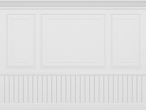 classic white wall ,3d render