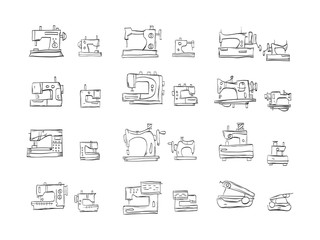 Sketch icons vector collection for sewing machine