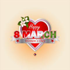 Holiday design, background with label heart shaped and bouquet of flowers for 8 March and Women's Day text on silver ribbon; Space for text