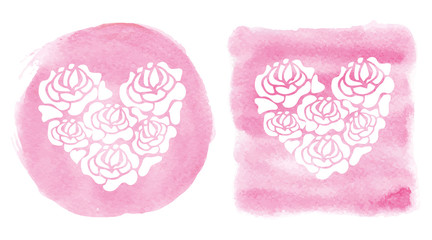 Watercolor splash background.Heart shape,Pink Template