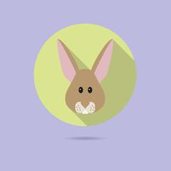 rabbit face flat design icon
