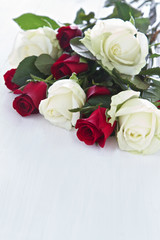 Red and White Roses in a bunch