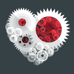 red and white heart paper cut gear flat illustration