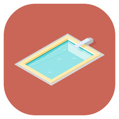 A vector illustration of outdoor swimming pools. Isometric Swimming Pool illustration Icon - Swimming pools for the summer holidays or leisure.