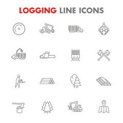 Logging line icons isolated over white, sawmill, forestry equipment, logging truck, tree harvester, timber, lumberjack, wood, lumber,