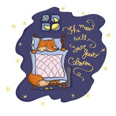sweet card. fox sleep in the bed. hand drown illustration