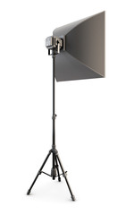 Studio strobe on white background. Studio softbox isolated. 3d.