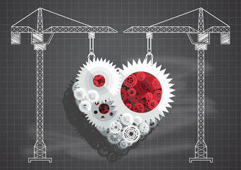 Construction of gears and cogs heart blueprint chalkboard vecto