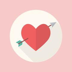 Heart with cupid arrow flat icon