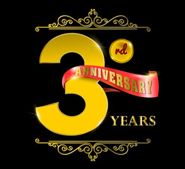 3rd anniversary logo and red ribbon