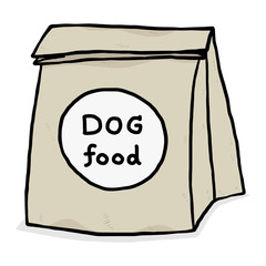 dog food in paper bag / cartoon vector and illustration, hand drawn style, isolated on white background.