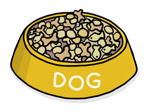 dog food / cartoon vector and illustration, hand drawn style, isolated on white background.