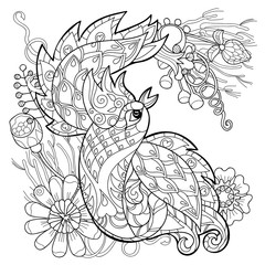 Zentangle stylized peacock Hand Drawn vector illustration. Sketch for tattoo or makhenda. Bird collection.