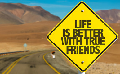 Life is Better With True Friends sign on desert road
