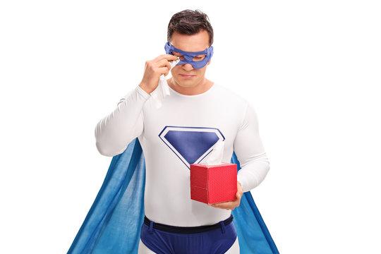 Sad superhero crying