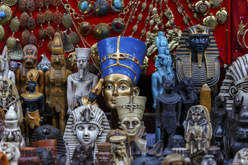 Statues of Egyptian Pharaoh in market,Egyptian traditional cultu