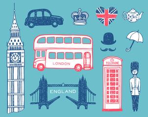 In de dag Doodle Hand drawn England set, vector illustration