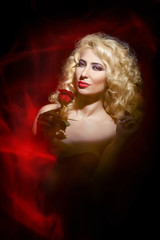 sensual woman, lady in red, Valentine's day