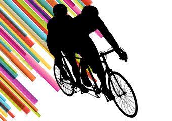 Cyclist in action vector abstract background illustration colorf