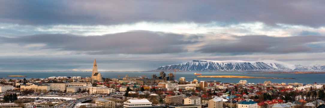 Reykjavik, Iceland, Panorama view in winter