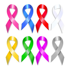Awareness ribbons set with shadows. Breast, prostate, bladder, colon, liver, lung, brain cancer. Vector illustration.