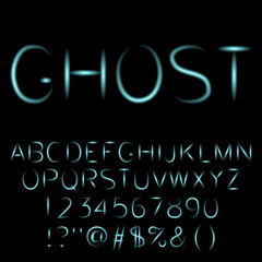Ghost , spooky font. Vector