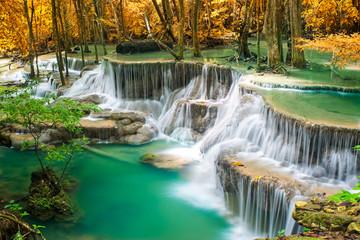 Fototapeta waterfall in autumn forest  obraz